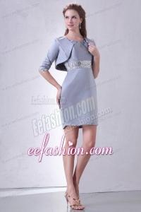 Grey Column Scoop Mini-length Short Prom Dress with Beading