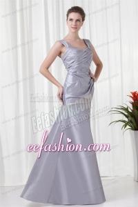 Grey Column Straps Taffeta Beading and Ruching Prom Dress