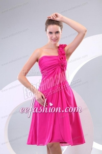 Hot Pink Hand Made Flowers and Ruching One Shoulder Prom Dress