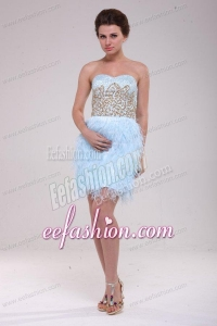 Light Blue Sweetheart Sequins Feather Mini-length Prom Dress