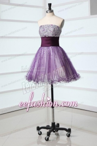 Lovely A-line Sweetheart Purple Mini-length Beading Tulle Prom Dress