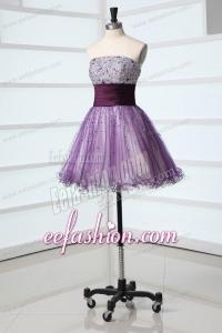 Lovely A-line Sweetheart Purple Mini-length Beading Tulle Prom Dress