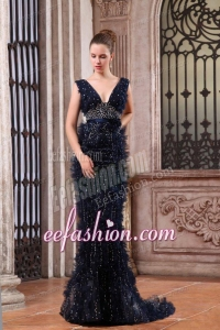 Luxurious Mermaid V-neck Navy Blue Beading Brush Train Prom Dress