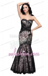 Mermaid Black Sweetheart Lace Floor-length Prom Dress