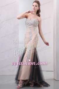 Mermaid Champagne Sweetheart Beading Chiffon Prom Dress
