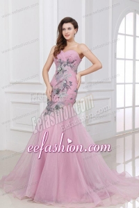 Mermaid One Shoulder Rose Pink Appliques Ruching Organza Long Prom Dress