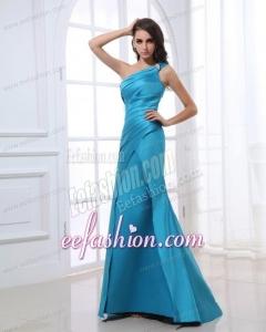 Mermaid One Shoulder Ruching Beading Blue Floor-length Prom Dress