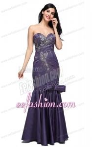 Mermaid Purple Sweetheart Bow Purple Beading Prom Dress