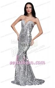 Mermaid Silver Sequins Sweetheart Beading Brush Train Prom Dress