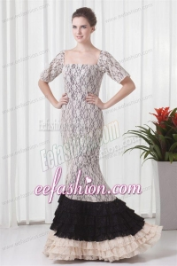 Mermaid Square White Lace Floor-length Prom Dress with Short Sleeves