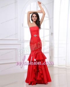 Mermaid Strapless Beading Wine Red Floor-length Prom Dress