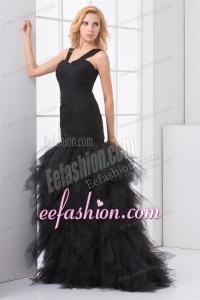 Mermaid Straps Organza Ruffles and Ruching Black Prom Dress
