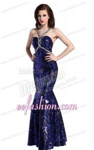 Mermaid Straps Sequins Beading Floor-length Purple Prom Dress