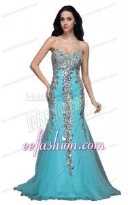 Mermaid Sweetheart Appliques Light Blue Brush Train Prom Dress