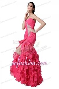 Mermaid Sweetheart Beading Ruffles Hot Pink Prom Dress