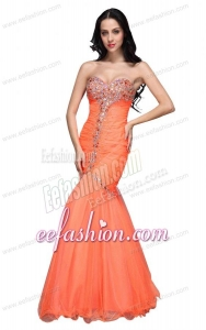 Mermaid Sweetheart Orange Beading Ruching Organza Prom Dress