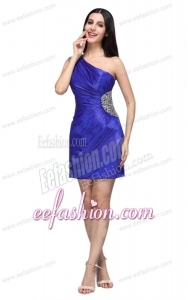 One Shoulder Column Beaded Decorate Mini-length Prom Dress in Blue
