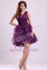 Pretty Purple V-neck Prom Dress with Ruffled Layers Mini-length
