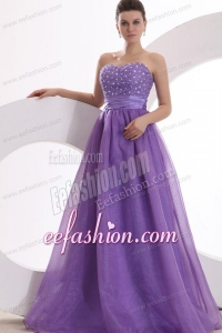 Princes Sweetheart Organza Purple Lace Up Floor-length Prom Dress with Beading