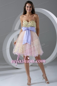 Princess Pink Sweetheart Appliques Knee-length Prom Cocktail Dress