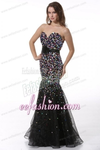 Sequined Black Mermaid Sweetheart Prom Dress with Flower