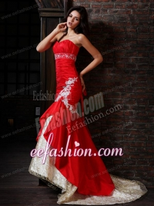 Sexy Mermaid Strapless Brush Train Red Appliques Prom Dress with Lace Up
