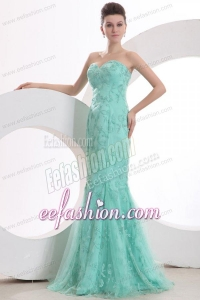 Sexy Mermaid Sweetheart Apple Green Embroidery Prom Dress with Tulle Brush Train