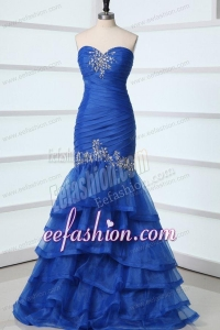 Sexy Mermaid Sweetheart Beading Organza Blue Prom Dress
