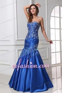 Sexy Mermaid Sweetheart Floor-length Blue Taffeta Prom Dress with Beading