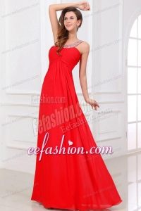 Sexy Red Empire One Shoulder Long Chiffon Beading Prom Dress with Criss Cross