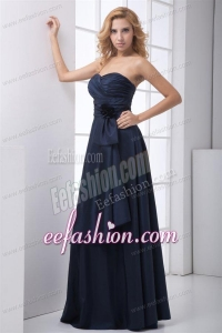 Simple Blue Column Sweetheart Floor-length Ruching Prom Dress