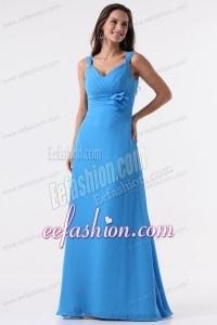 Simple Blue Straps Ruching Hand Made Flower Floor-length Chiffon Prom Dress