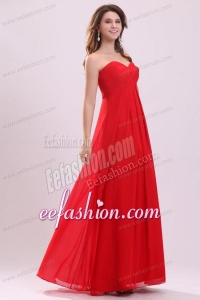 Simple Empire Sweetheart Floor-length Chiffon Ruching Red Prom Dress