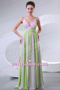 Spaghetti Straps Empire Multi-color Chiffon Prom Dress with Ruche