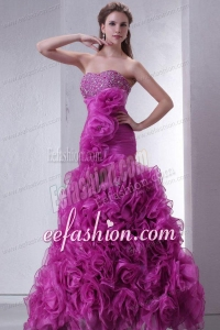 Sweetheart Beading and Rolling Flowers Mermaid Lilac Prom Dress