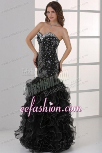 Sweetheart Black Mermaid Sequins Ruffles Prom Dress with Beading