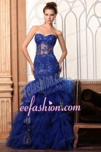 Sweetheart Mermaid Appliques and Ruffles Layered Prom Dress in Blue