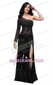Column Black One Shoulder Long Sleeves Sequins High Slit Prom Dress