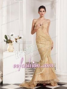 Mermaid Straps Champagne Appliques and Beading Brush Train Prom Dress