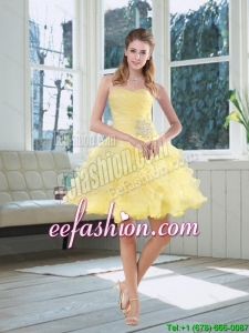 2015 Light Yellow Beading Puffy Prom Dresses with Sweetheart