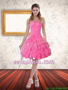 Beautiful Baby Pink Sweetheart Prom Dress with Beading and Ruffled Layers