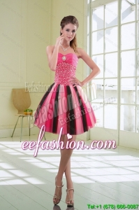 Beautiful Multi Color Beading Sweetheart Prom Dresses with Ruffles