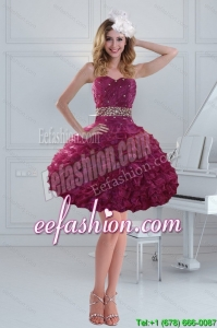 Fashionable Beading Strapless Ruffled Prom Dresses for 2015