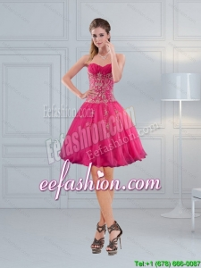 Perfect Sweetheart Hot Pink Prom Dresses with Embroidery and Beading
