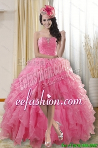 Pretty and Best Selling High Low Dresses for Quinceanera with Ruffles and Beading