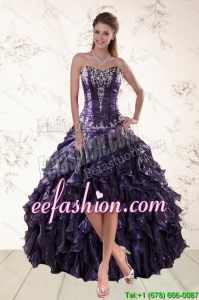 2015 Exclusive and Elegant Purple High Low Prom Dresses for Spring