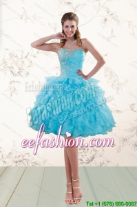 2015 Fashionable Baby Blue Beading Prom Gown with Ruffles