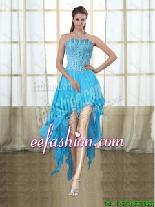 2015 Fashionable Sweetheart High Low Baby Blue Prom Dresses with Beading