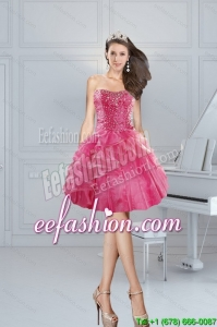 2015 In Stock Pink Sweetheart Prom Dresses with Beading and Ruffles