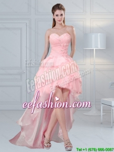 2015 Pretty Baby Pink Sweetheart Beading Prom Dresses with Ruffled Layers